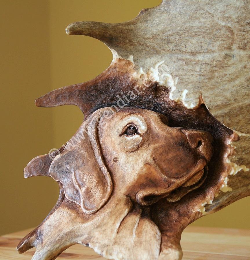 Ručná práca rezba do parožia, Handgemachte Schnitzerei im Geweih, Handmade carving in antler